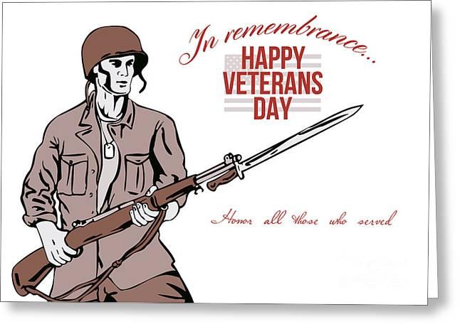Bayonet Digital Art Greeting Cards - Veterans Day Greeting Card American Soldier Greeting Card by Aloysius Patrimonio