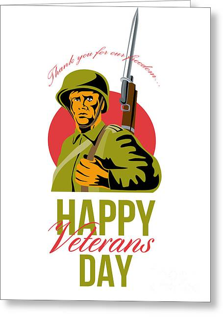 Bayonet Greeting Cards - Veterans Day Greeting Card American WWII Soldier Greeting Card by Aloysius Patrimonio