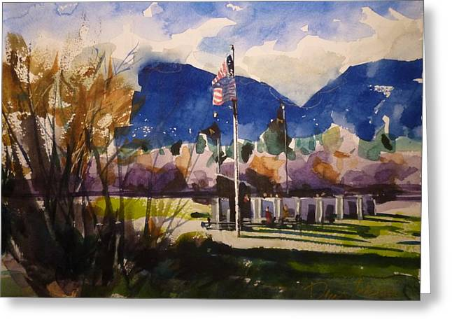 Veterans Memorial Paintings Greeting Cards - Veterans Memorial Hamilton MT Greeting Card by Dale Jorgensen