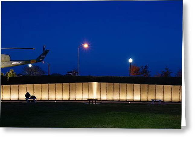 Ptsd Greeting Cards - Veterans Memorial Park After Dark Greeting Card by Chuck Johnson