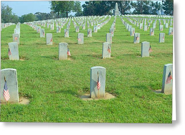 Seat Of Power Greeting Cards - Veterans National Cemetery On Veterans Greeting Card by Panoramic Images