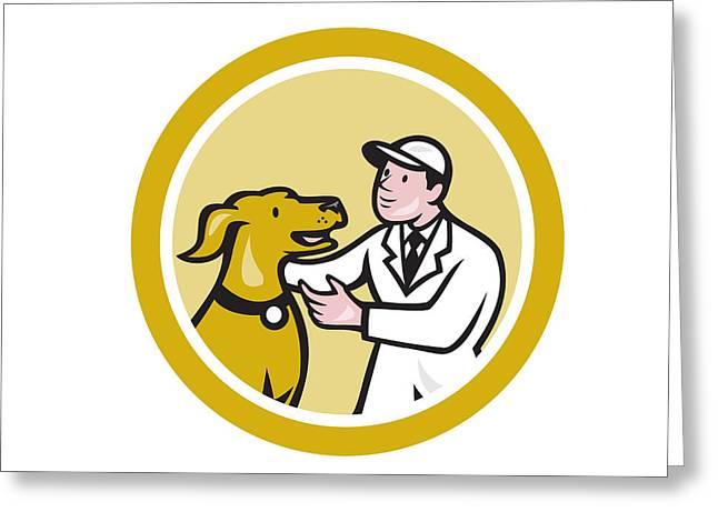 Knelt Digital Greeting Cards - Veterinarian Vet Kneeling Beside Pet Dog Circle Cartoon Greeting Card by Aloysius Patrimonio
