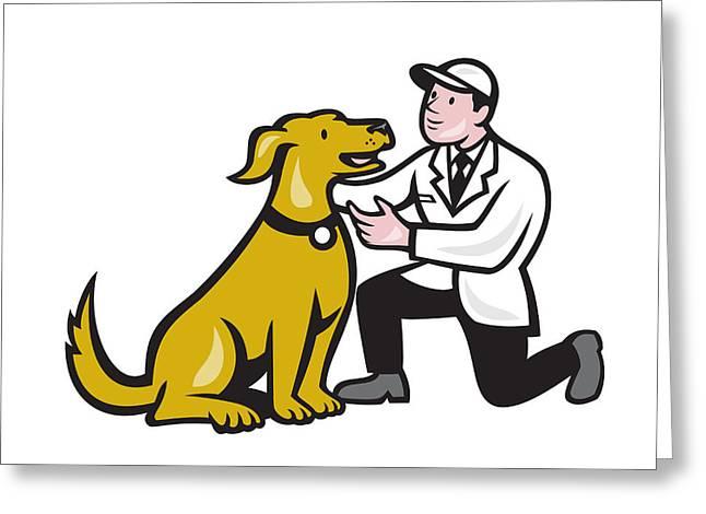 Knelt Digital Greeting Cards - Veterinarian Vet Kneeling With Pet Dog Cartoon Greeting Card by Aloysius Patrimonio