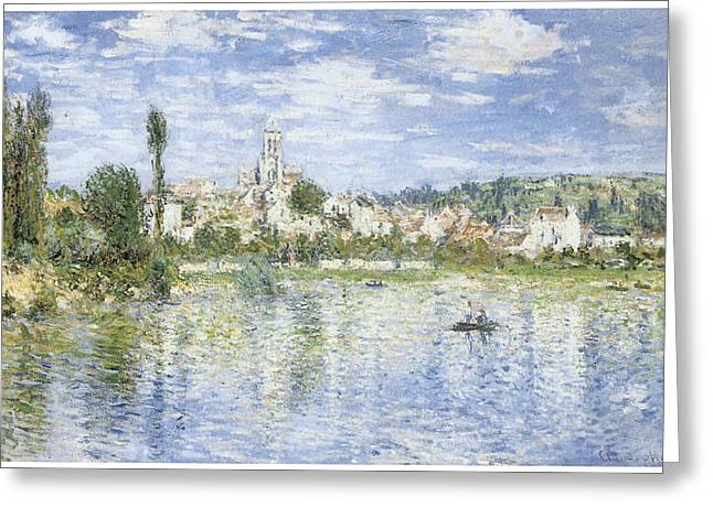 Vetheuil Greeting Cards - Vetheuil in Summer Greeting Card by Claude Monet