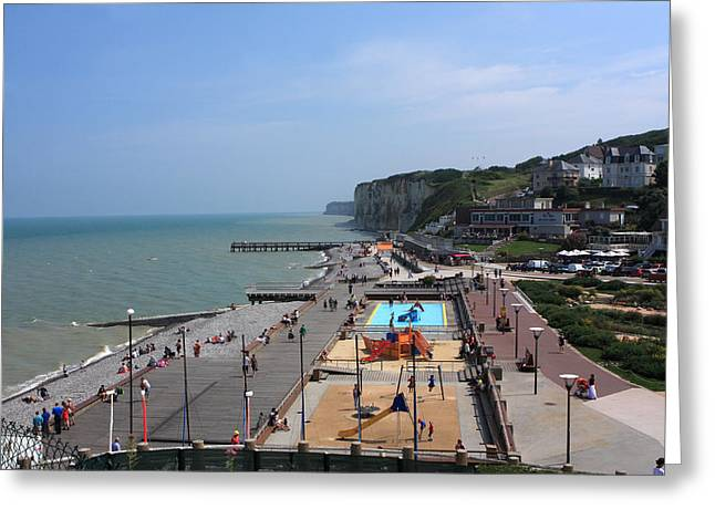 Sandy Beaches Greeting Cards - Veules Les Roses Normandy France Greeting Card by Aidan Moran