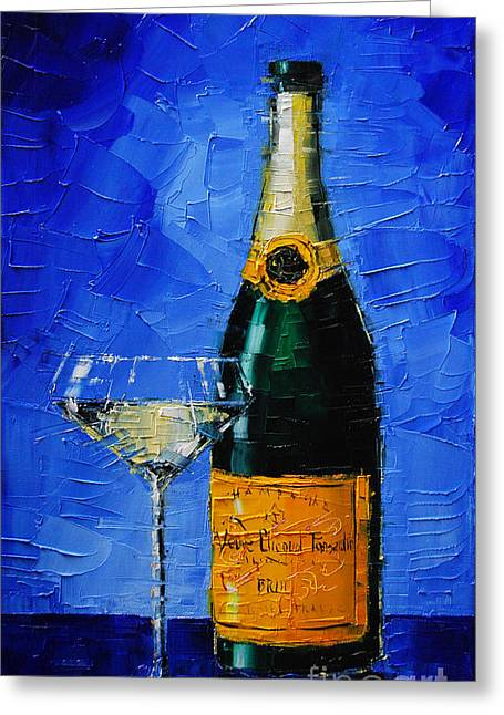 Candle Lit Paintings Greeting Cards - Veuve Clicquot Greeting Card by Mona Edulesco