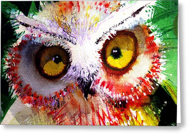 Unique Owl Greeting Cards - Vexed Greeting Card by Laurel Bahe