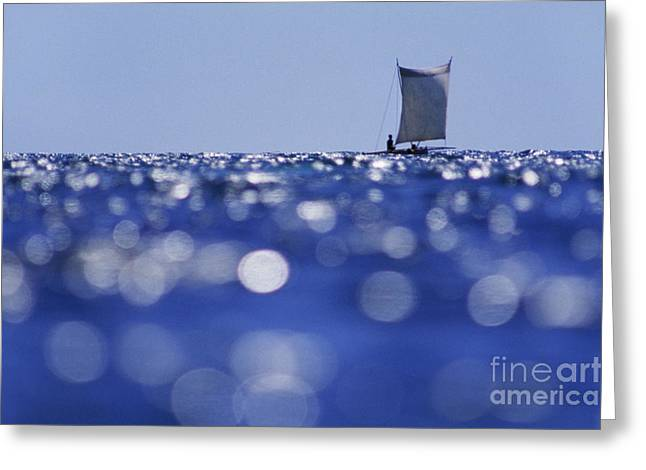 Water Vessels Greeting Cards - Vezo Outrigger Canoe-Mozambique Channel Greeting Card by Frans Lanting MINT Images
