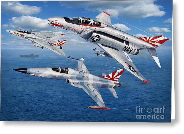 Aircraft Carrier Greeting Cards - VF-111 Sundowners Heritage Greeting Card by Stu Shepherd