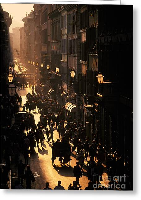 Streetlight Greeting Cards - Via Condotti, Rome, Italy Greeting Card by Ron Sanford