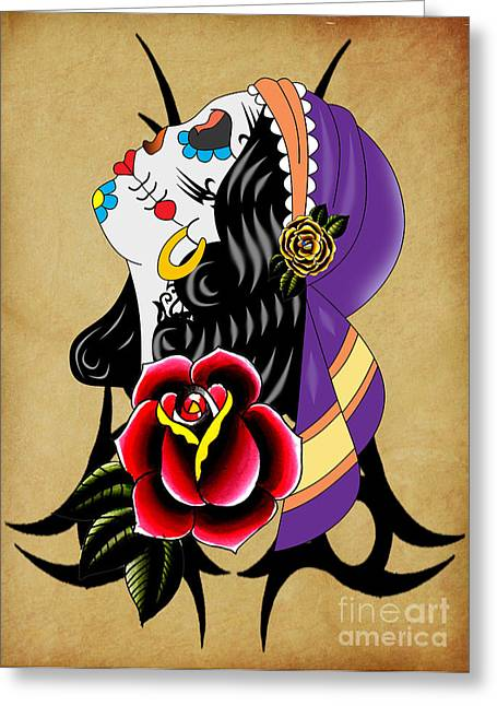 Funny Pop Culture Greeting Cards - Via De Los Muertos 2 Greeting Card by Mark Ashkenazi