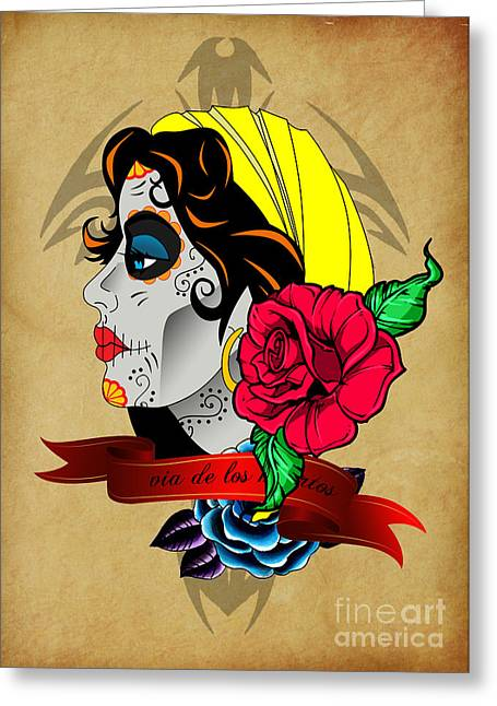 Funny Pop Culture Greeting Cards - Via De Los Muertos Greeting Card by Mark Ashkenazi