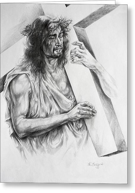 Religious Drawings Drawings Greeting Cards - Via Dolorosa Greeting Card by Derrick Higgins