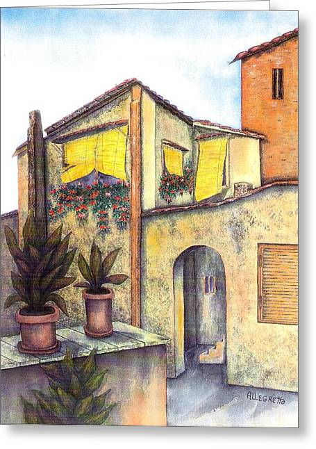Roman Streets Greeting Cards - Via Roma Greeting Card by Pamela Allegretto