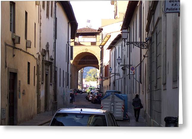 Via San Gallo In Florence Greeting Card by Terry Cobb