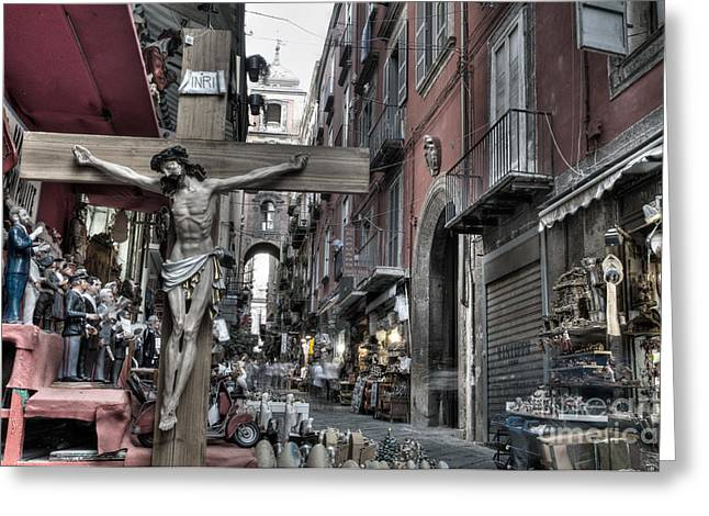 Souvenirs Greeting Cards - Via San Gregorio Armeno Greeting Card by Marion Galt