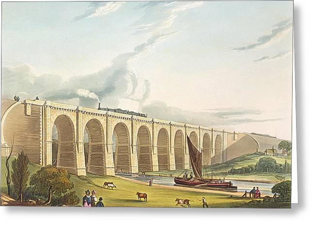 Bridge Drawings Greeting Cards - Viaduct Across The Sankey Valley, Plate Greeting Card by Thomas Talbot Bury