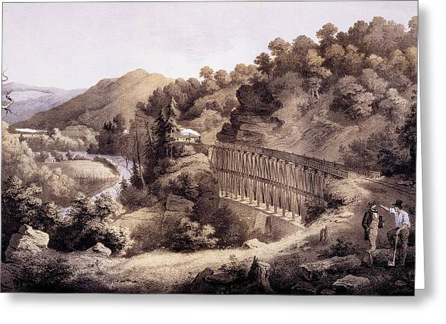 Conversations Drawings Greeting Cards - Viaduct On Cheat River, From Album Greeting Card by Edward Beyer