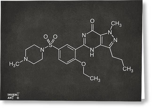 Pill Greeting Cards - Viagra Molecular Structure Gray Greeting Card by Nikki Marie Smith