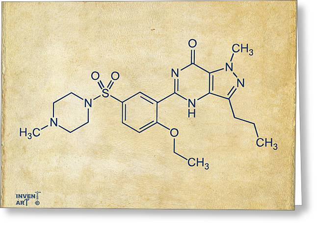 Molecular Greeting Cards - Viagra Molecular Structure Vintage Greeting Card by Nikki Marie Smith