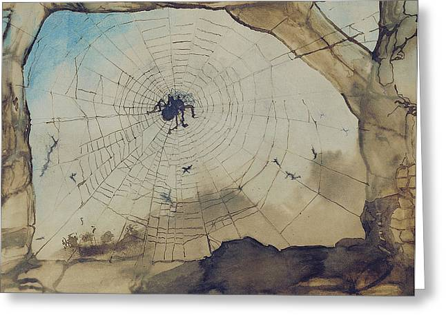 Creepy Drawings Greeting Cards - Vianden through a Spiders Web Greeting Card by Victor Hugo