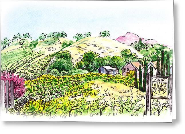 Viano Winery Martinez California Greeting Card by Irina Sztukowski