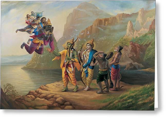 Vibhishan Meeting Ram And Lakshman Greeting Card by Vrindavan Das