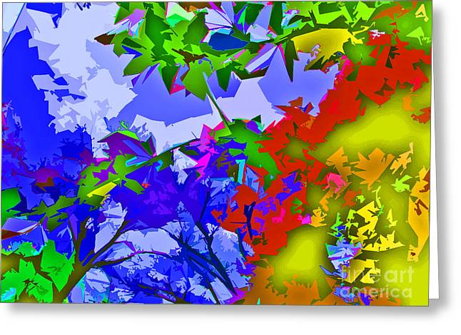 Color Enhanced Greeting Cards - Vibrant Abstract Leaves Trees and Sky Greeting Card by Minding My  Visions by Adri and Ray
