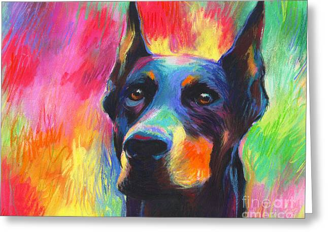 Dog Portraits Greeting Cards - Vibrant Doberman Pincher dog painting Greeting Card by Svetlana Novikova