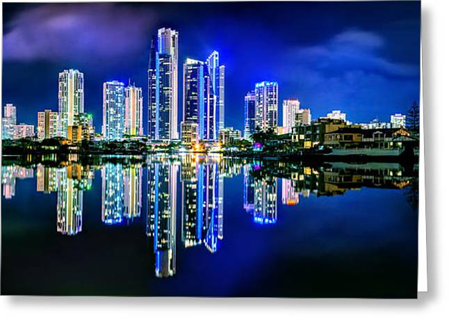 Mirror Reflection Greeting Cards - Gold Coast Shines Greeting Card by Az Jackson