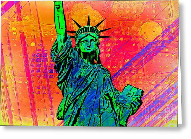 Tourists Greeting Cards - Vibrant Liberty Greeting Card by Az Jackson