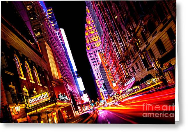 New York Times Greeting Cards - Vibrant New York City Greeting Card by Az Jackson