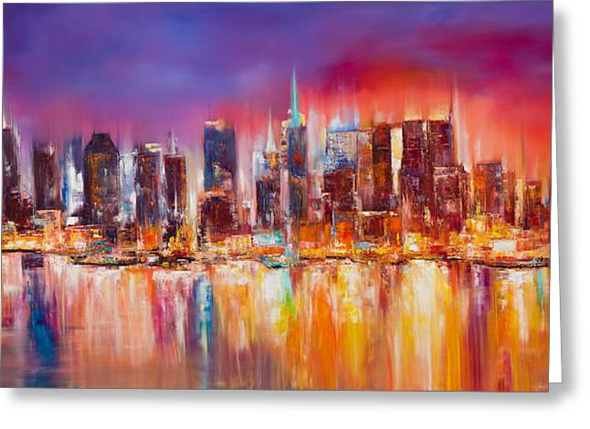 Skyline Paintings Greeting Cards - Vibrant New York City Skyline Greeting Card by Manit