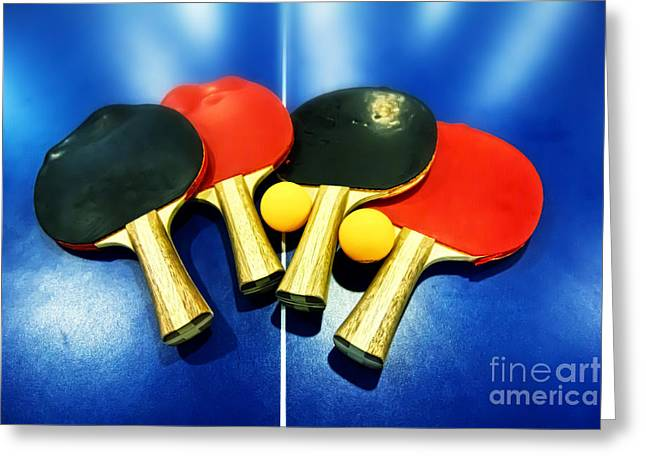 Table Tennis Racket Greeting Cards - Vibrant Ping-pong Bats Table Tennis Paddles Rackets on Blue Greeting Card by Beverly Claire Kaiya