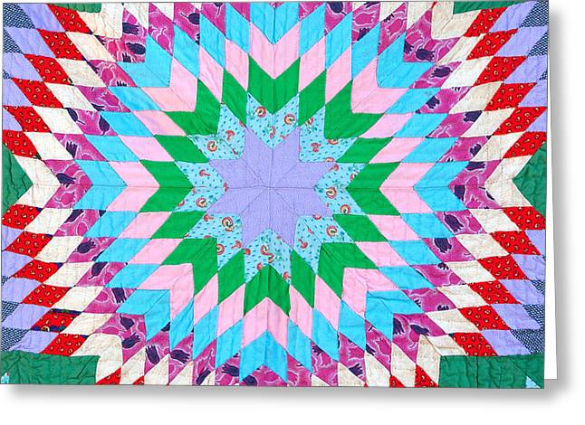 Colorful Quilts Greeting Cards - Vibrant Quilt Greeting Card by Art Block Collections