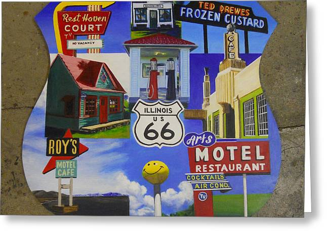40s Paintings Greeting Cards - Vibrant Route 66 Greeting Card by Sarah Vandenbusch