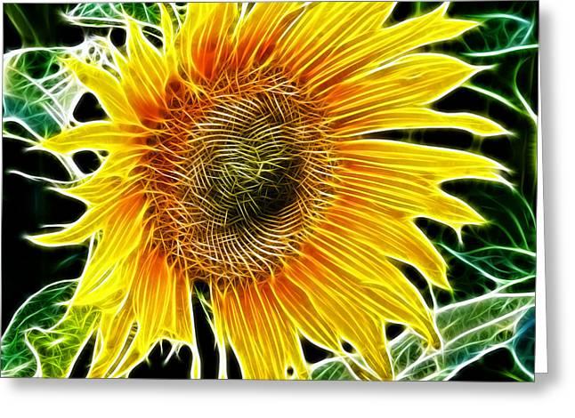 Garden Scene Greeting Cards - Vibrant Sunflower Greeting Card by Mariola Bitner