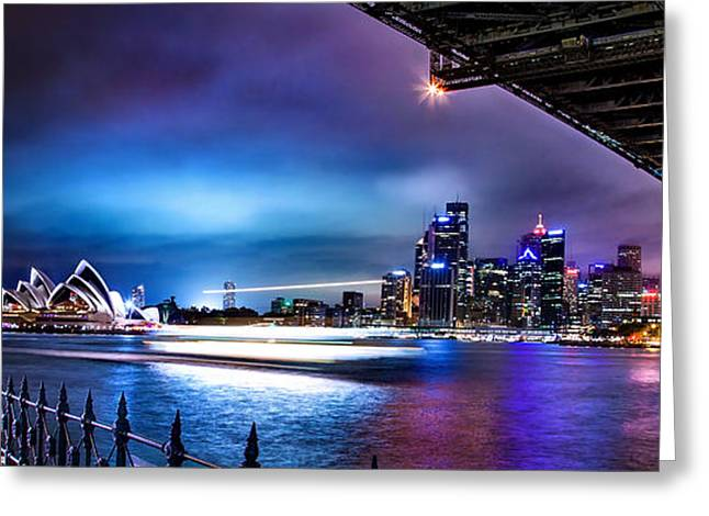 Vibrant Sydney Harbour Greeting Card by Az Jackson