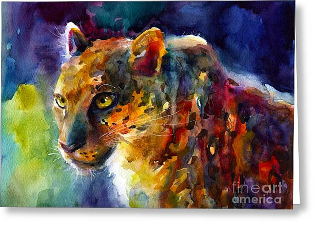 Impressionistic Poster Greeting Cards - Vibrant watercolor leopard wildlife painting Greeting Card by Svetlana Novikova