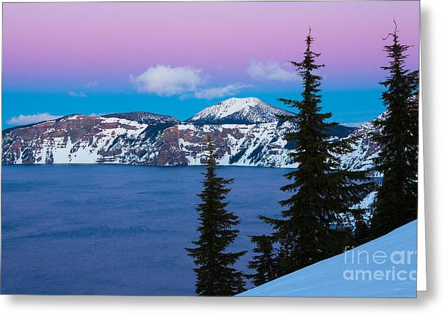 Crater Lake Greeting Cards - Vibrant Winter Sky Greeting Card by Inge Johnsson