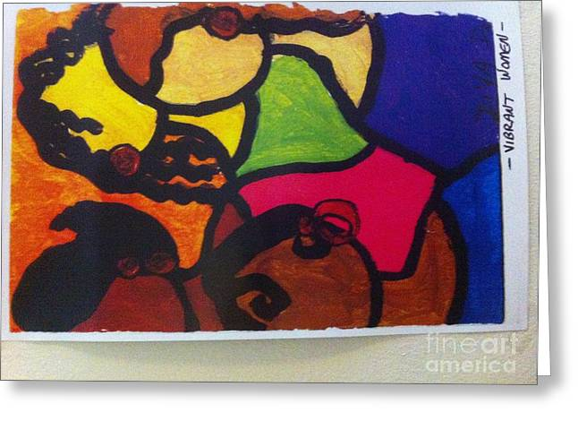 Biracial Greeting Cards - Vibrant Women Greeting Card by Denise Dotson