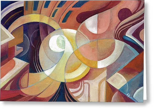 Geometry In Orange Greeting Cards - Vibrations Greeting Card by C Y