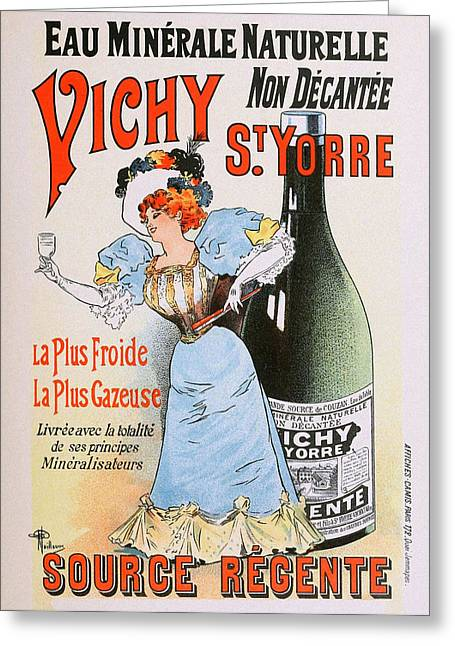 Belle Epoque Mixed Media Greeting Cards - Vichy St Yorre Mineral Water Greeting Card by Charles Ross