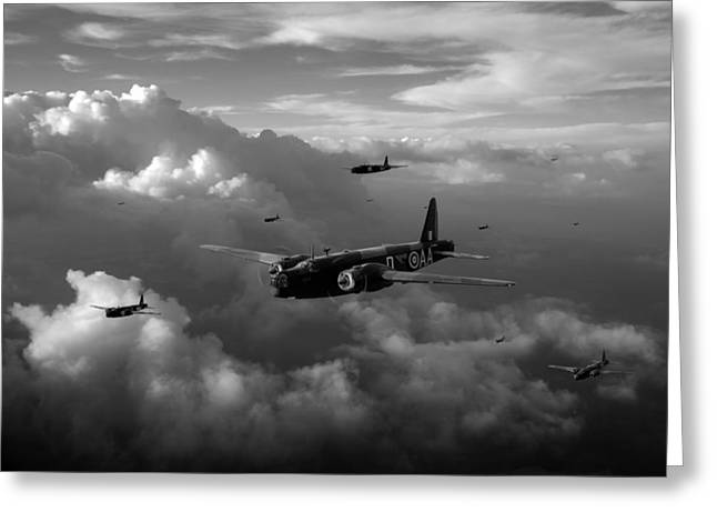 Wellingtons Greeting Cards - Vickers Wellingtons No 75 Squadron black and white version Greeting Card by Gary Eason