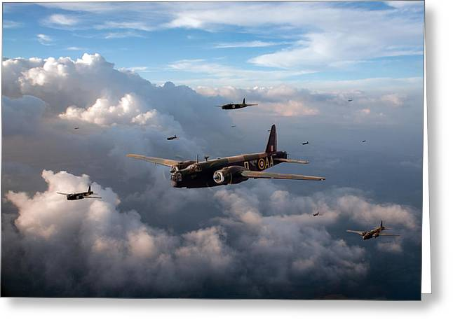 Wellingtons Greeting Cards - Vickers Wellingtons No 75 Squadron Greeting Card by Gary Eason