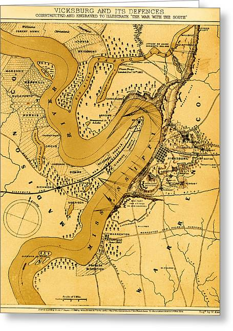 Strategy Drawings Greeting Cards - Vicksburg and Its Defenses Greeting Card by Mountain Dreams