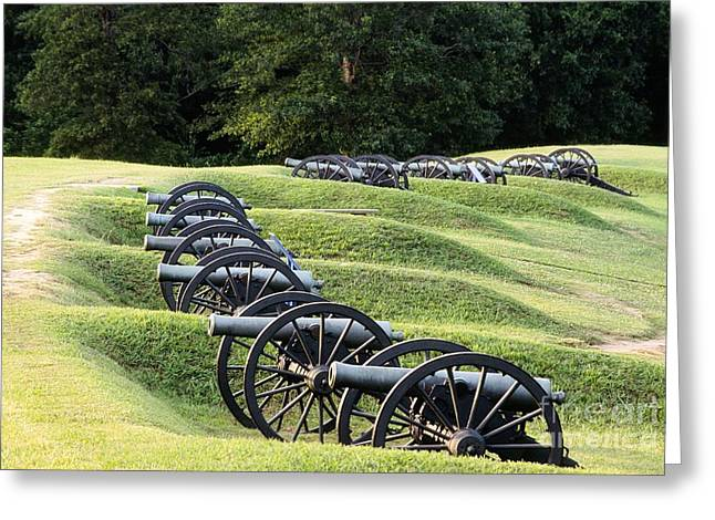 Civil War Battle Site Greeting Cards - Vicksburg Mississippi USA Civil War entrenchments known as the Battery De Golyer Greeting Card by David Lyons