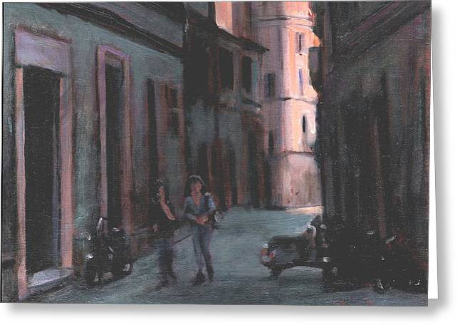 Italian Shopping Paintings Greeting Cards - Vicolo Del Troubador Greeting Card by David Zimmerman