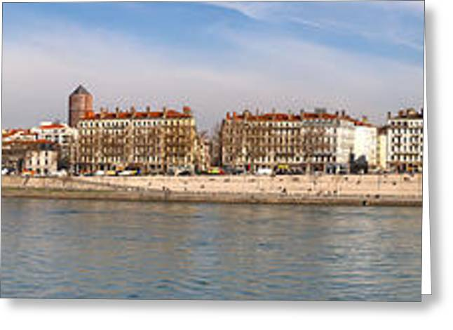 Lyon Greeting Cards - Victor Augagneur Bridge Over The Rhone Greeting Card by Panoramic Images
