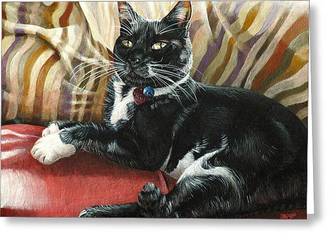 Tuxedo Greeting Cards - Victor Greeting Card by Cara Bevan